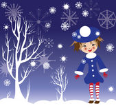 Kid new year illustration. Cute girl is walking in winter garden Stock Photos