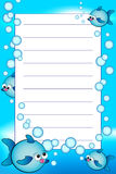 Kid notebook with blank lined page. Kid notebook page with fishes and air bubbles  - Lined page for children Royalty Free Stock Image