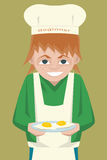 Kid novice cook character cartoon. Kid novice cook character -  funny cartoonvector illustration Stock Photography