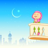 Kid offering namaaz for Eid celebration. Illustration of kid offering namaaz for Eid celebration vector illustration