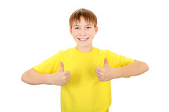 Kid with OK Gesture Stock Photo