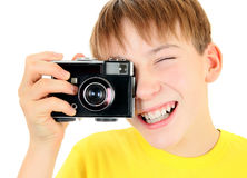 Kid with Old Camera Stock Images