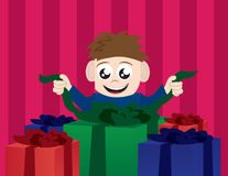 Kid Opening Presents. From a birthday or christmas Stock Photo