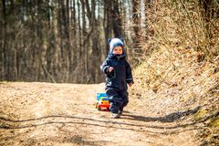 Kid outdoors, early spring forest stock images