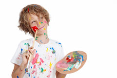 Kid with paint brush. Child or kid with paint brush painting Royalty Free Stock Photos