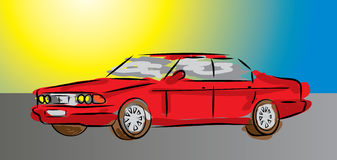 Kid paint car. Vector illustration of a kid painted car Stock Photo
