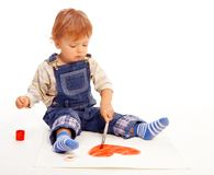 Kid paint heart on paper Stock Images