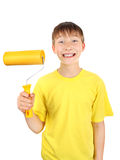 Kid with Paint Roller Royalty Free Stock Images