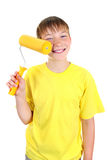 Kid with Paint Roller Royalty Free Stock Photo