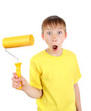 Kid with Paint Roller Stock Photo