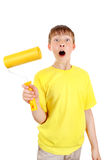 Kid with Paint Roller Royalty Free Stock Image