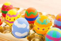 Kid painted easter egg Stock Photography
