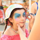 Kid painted on face Royalty Free Stock Photography