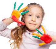 Kid with painted palms Royalty Free Stock Photo
