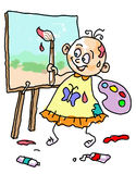 Kid painting on canvas Royalty Free Stock Image