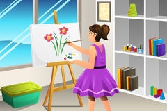 Kid Painting on a Canvas Royalty Free Stock Photography