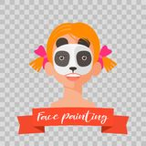 Kid with panda face painting vector illustrations. On transparent background. Child face with animal makeup painted for kids party Stock Photo