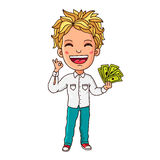 Kid with paper money in hand Stock Images