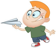 Kid with paper plane Stock Photo