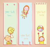 Kid party Banners and Bookmarks, vector illustration. Royalty Free Stock Photo