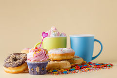 Kid Party decoration. Cupcake with donuts Royalty Free Stock Photos