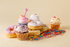 Kid Party decoration. Cupcake with donuts Royalty Free Stock Images