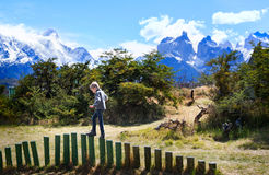Kid in patagonia Stock Image