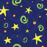 Kid Pattern. Bold, playful, and colorful kid pattern with green swirlies, yellow stars, and orange polka dots. Pattern is seamless and can be tiled Stock Illustration