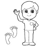 Kid with paw print Coloring Page vector Stock Image