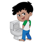 Kid peeing.vector and illustration. Stock Photo