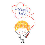 Kid with pencil and welcome banner Royalty Free Stock Image