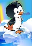 Kid - penguin on ice floe. Cartoon kid - penguin ice floe floating on a transparent background on the aurora royalty free illustration