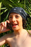 Kid on the Phone Stock Photo