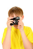 Kid with Photo Camera Stock Photography
