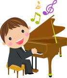 Kid and piano Stock Photo