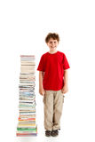 Kid and pile of books royalty free stock images