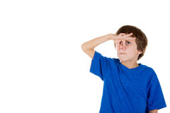 A kid pinching his nose, PU, something stinks Royalty Free Stock Photo