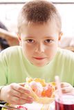 Kid with pink ice-cream Stock Photos