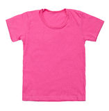 Kid pink tshirt on white background Stock Images