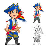 Kid Pirate Holding Wooden Sword with Scarlet Mawaw Bird Cartoon Character Royalty Free Stock Photo