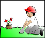 Kid planting. Vector illustration of a kid planting a flower Stock Photography