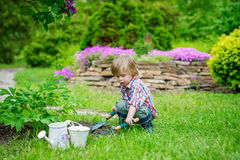 Kid planting flowers in the garden. Cute kid playing in the beautiful garden Royalty Free Stock Photo
