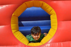 Kid is at play area. I clicked this photo during my visit at Hyderabad. Yatharth was enjoying his rides at NRT garden Royalty Free Stock Image