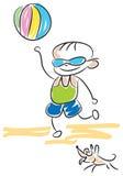 Kid play with ball. Line art image Stock Photo