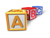 Kid play blocks. Kids play blocks representing the concept of preschool education and classroom toy isolated on white featuring three cubes with the letters a b Royalty Free Stock Photos