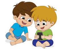 Kid play phone with friend. Vector and illustration stock illustration