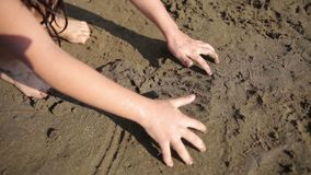 Kid play the sand stock footage