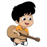 The kid played guitar. The music makes kids concentrate and help Royalty Free Stock Photo