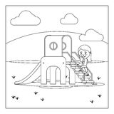 Kid on playground coloring book design Stock Photos
