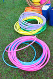 Kid playground items. Such as hula hoops and cones royalty free stock photography